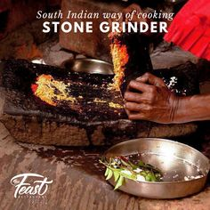 """""""The grandma's Grindstone"""" Classic tool in the South Indian kitchens, where the age-old traditional Indian spices are ground laboriously by hand to obtain the right mixture for cooking. Fredrikstad, Cooking Stone, Indian Kitchen, Kitchens, Spices, Age, Traditional, Classic, Cucina"""