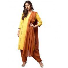 Jaipur Kurti Women Yellow Solid Straight Cotton Kurta With Brown Patiala Dupatta