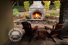 brick stone fireplace | Stone Outdoor Fireplaces | Brick Outdoor Fireplaces | Baker Masonry