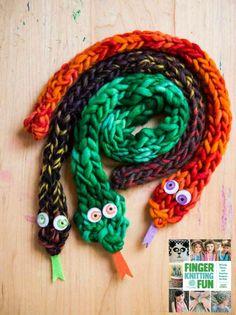 Finger knit snakes for a Medusa costume