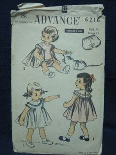 Girl Size 6 Months Dress and Panties Advance 6216 Circa 1950s