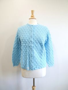 1960s Blue Cardigan Vintage 60s Sweater New Old Stock by RedsThreadsVintage, $28.00