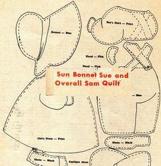 Vintage Sun Bonnet Sue Overall Sam Applique Quilt Pattern from Magazine | eBay