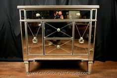 Need to find mirrors or paintings to go above pair in bedroom Mirrored Sideboard, Mirrored Furniture, Mirror Chest Of Drawers, Living Room Decor, Living Spaces, Light And Space, Mirror Cabinets, Art Deco Fashion, Modern Interior