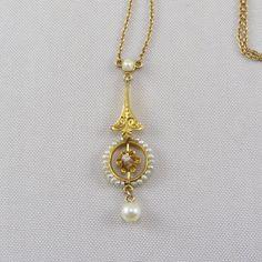 Antique Edwardian 10K Gold Diamond Pearl Lavalier Necklace Vintage 1910s Yellow Gold Pendant Fine Jewelry