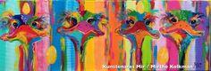 Schilderkunst Paintings art Ostrichpainting Ostrich kunst colour kleurrijk loopvogel schilderij Acrylschilderij artist egg eieren