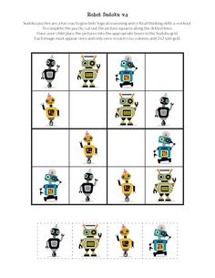 Grab a copy of these FREE printable Robot Sudoku Puzzles for kids. Great for cognitive development and critical thinking skills. Preschool Activities At Home, Body Preschool, Indoor Activities For Kids, English Worksheets For Kids, English Lessons For Kids, Sudoku Puzzles, Logic Puzzles, Printable Puzzles For Kids, Free Printables