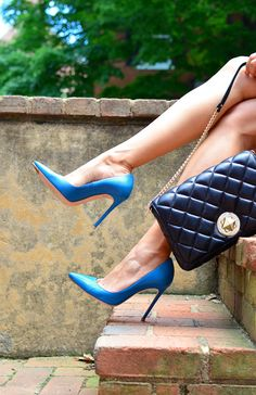 Classic never goes out of style. Blue stilletto high heels. Sexy and classy pointed toe pumps. Tacchi Close-Up #Shoes #Heels