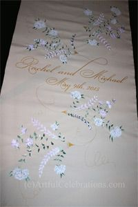 Wedding Aisle Runner personalized with blue & white hydrangea and peonies - Artful Celebrations - Hand Calligraphy, Painted Aisle Runners & Hand Engraving
