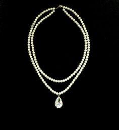 Bridal Statement Necklace, Bridal Jewelry, Swarovski Pearl Wedding Necklace, Bridesmaid Jewelry, Crystal Drop, Pearl Bridal, Vintage, Rose
