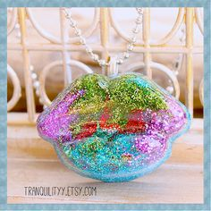 Psychedelic Big Lips Kiss Necklace Glitter Resin by tranquilityy