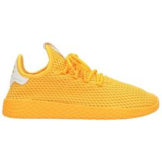 Pharrell Williams Tennis Hu Sneakers (5.795 RUB) ❤ liked on Polyvore featuring shoes, sneakers, yellow, rubber sole sneakers, tennis sneakers, tennis shoes sneakers, yellow shoes and tennis trainer