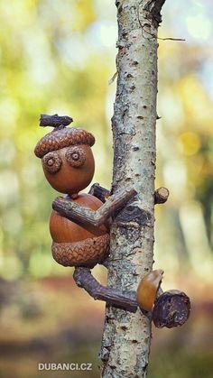 Dubánci - The secret world of oak folks - funny stuff - Twig Crafts, Acorn Crafts, Pine Cone Crafts, Shell Crafts, Nature Crafts, Garden Crafts, Home Crafts, Fun Crafts For Kids, Art For Kids