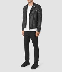 AllSaints New Arrivals: Mens Den Leather Biker Jacket
