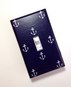 Anchor Light Switch Plate Cover / Nautical Kids Room / Baby Boy / Bathroom / Kitchen / Out to Sea Navy by Michael Miller. $10.00, via Etsy.