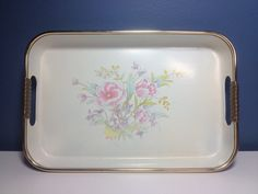 Vintage Floral Tray With Black Bottom And Gold by PrettyOldShop, $11.00