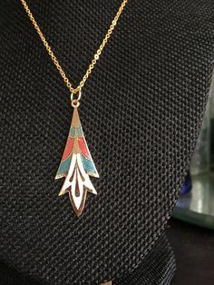 Cloisonne Pendant, cloisonne pendants,  Art Deco Necklace, Vintage cloisonne, art deco necklace, cloisonne pendants, necklaces art deco,N180 by DuckCedar on Etsy