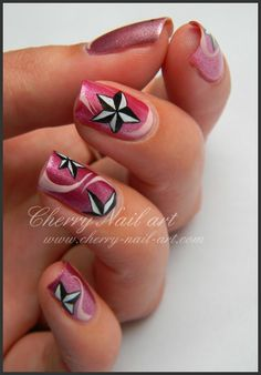 Black and White Stars on Pink Nails