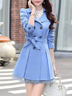 Buy Coats For Women from Sicily at Babyonlinewholesale. Online Shopping Sleeve Lapel Shift Casual Trench Coat, The Best Work Coats. Discover unique designers fashion at Babyonlinewholesale. Girls Fashion Clothes, Fashion Outfits, Clothes For Women, Dress Coats For Women, Womens Fashion, Fashion Ideas, Coat Dress, Shirt Dress, Trench Dress