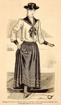1890 Wood Engraving Victorian Misses Sailor Costume Nautical Fashion Boat Shoes | eBay
