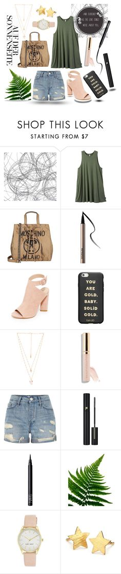 """""""On the Sunny Side"""" by adele-h-pocketbook ❤ liked on Polyvore featuring RVCA, Moschino, Kendall + Kylie, ban.do, Natalie B, GET LOST, Beautycounter, River Island, Lancôme and NARS Cosmetics"""