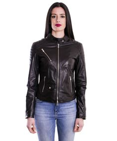 Giacca Chiodo Pelle Biker Donna Woman Leather Jacket  Blouson Cuir Femme F110