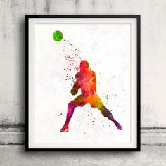 Volley ball player man 04 in watercolor - Fine Art Print Glicee Poster Home Watercolor sports Gift Room Illustration Wall - SKU 2311 by Paulrommer on Etsy