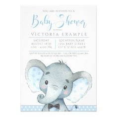 Boys Cute Elephant Baby Shower Invitations - invitations custom unique diy personalize occasions