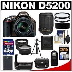 Nikon D5200 Digital SLR Camera & 18-55mm G VR DX AF-S Zoom Lens (Bronze) with 55-200mm VR Lens + 64GB Card + Case...