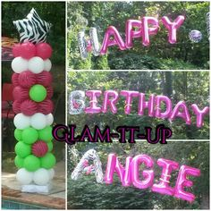 Wild flower columns and custom Happy Birthday arch by Shakiera Butler of Glam-It-Up