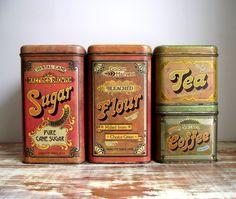 Cheinco Kitchen Canisters Set of 4  Vintage Advertising Tins 1970s Retro Kitchen Decor. $45.00, via Etsy.