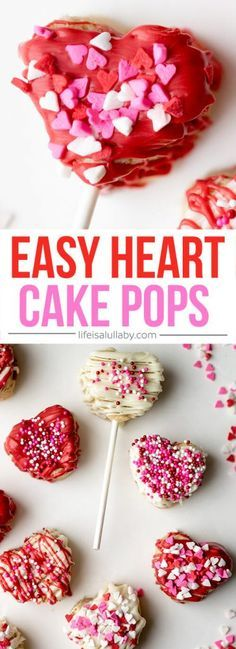 These HEART CAKE POPS are so easy to make and are delicious! A perfect treat for Valentine's Day.