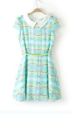 Peter Pan Collar Geometric Pattern Dress