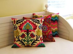 Items similar to Waverly Panama Wave in Desert Flower Pillow Cover on Etsy Mexican Pillows, Desert Flowers, Pillow Covers, Cushion Covers, Colorful Pillows, Flower Pillow, Bohemian Decor, Home Textile, Pillows