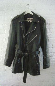 90s Black Leather Jacket Vintage Motorcycle Jacket Grunge Car Coat Punk Goth Metal Steampunk Burberry style Unisex Plus Size Biker Jacket. $130.00, via Etsy.
