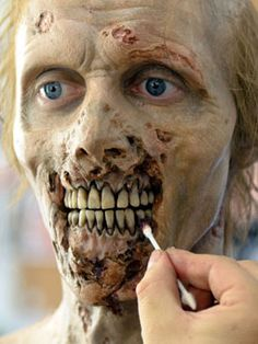 Amazing Walking Dead Zombie make-up. I believe this may be a prosthetic piece which I don't want to use for my final design. However, the detailing is fantastic.