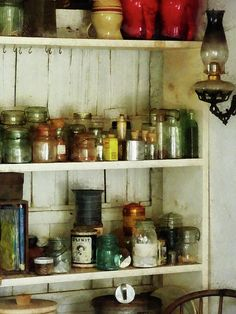 This kitchen pantry with its old-fashioned hurricane lamp bring back warm memories of childhood. Add this design to the product of your choice and have these warm feelings all year long. Perfect for a chef or cook and people who love Americana. Kitchen Pantry, Kitchen Storage, Kitchen Ideas, Old Fashioned Kitchen, Hurricane Lamps, Vintage Farm, Country Decor, Bathroom Medicine Cabinet, Home Kitchens