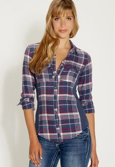button down plaid shirt with thermal fabric sides - #maurices
