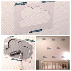 I love the idea of painting white clouds on a light mint wall in the baby's room.