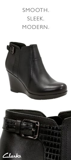 f6a6cb7a9f8 Clarks Camryn Rose black leather booties are smooth