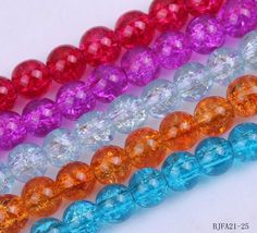 8mm Round Five Mixed Crackle Glass Loose Charm Beads Jewelry Making