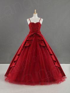 カラードレス プリンセスライン バーガンディ色 可愛いリボン サテン チュール B22077-w