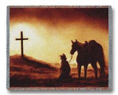 Reverence Cowboy Horse & Cross Western Throw Blanket