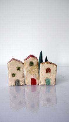 Rustic Miniature House, Glossy glaze Beige Ceramic House, Unique Handmade pottery little  house, Home decor, Kids decor, One of a kind