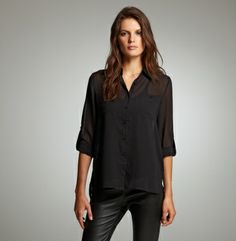 Long-Sleeve Button-Front Top With Layered Back - Kenneth Cole