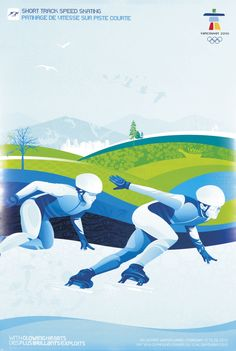 "2010 Vancouver Olympic Short Track Speed Skating Poster Mint Size 18"" x 27…"