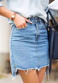 Blue Plain Irregular High Waisted Fashion Skirt