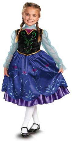 Disney Frozen Anna Deluxe Girls Costume - Party Depot