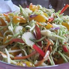 Sweet and Crunchy Salad Allrecipes.com. this is the one!  I'd use almonds though.