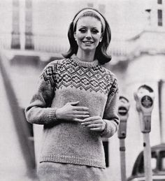 Vintage Knitting Pattern Instructions to Make a Ladies Fair Isle Jumper 3 Sizes
